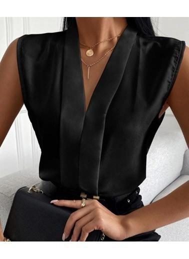 BLACK&GRACE Kadın Lila Sıfır Kol Onden Biyeli Gömlek Siyah